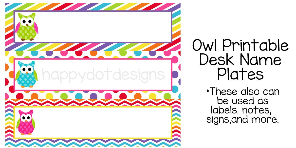 Printable Rainbow Owl Desk Name Plates / Name by HappyDotDesign