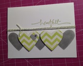 Clean and Simple Contemporary Heartfelt Thanks (Thank you) A2 Card in Lime Green and Smoky Slate (Stampin' Up), with Baker's Twine and Bling