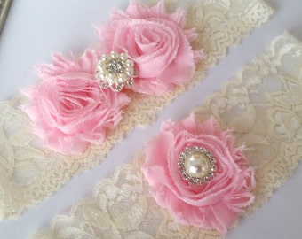 Bridal Garter Set, Ivory and Pink Lace Garter, Keepsake Garter, Toss Garter, Ivory and Pink Wedding Garter Set, Bridal Garter