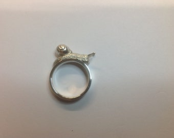 Snail ring,  Snail Jewellery, Handmade miniature snail ring sterling silver MADE TO ORDER