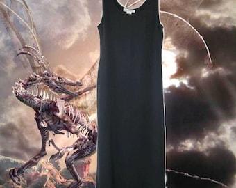 90s slip dress grey silk boho maxi size 10 large