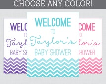 Baby Shower Chevron Welcome Sign in Any Color Personalized Shower Welcome Printable - Custom Color and Wording - Ombre Chevron