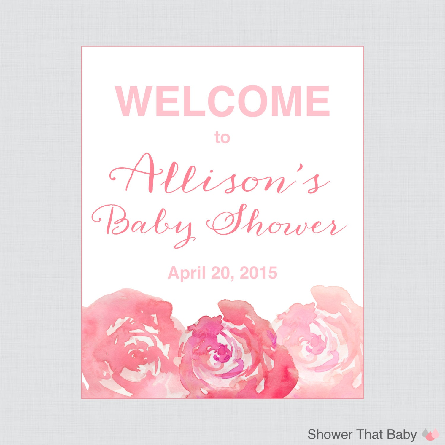 baby shower welcome sign pink floral personalized shower