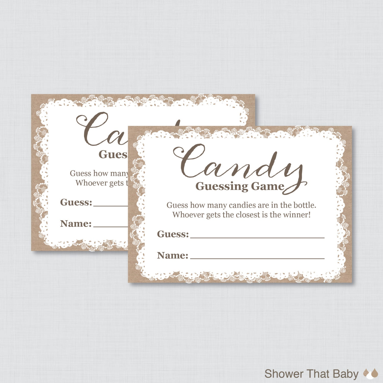 burlap and lace baby shower candy guessing game printable
