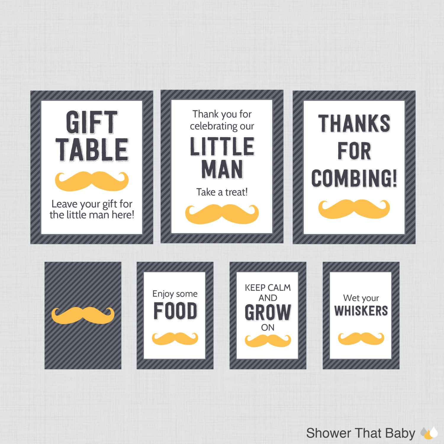 printable mustache baby shower table signs eight signs
