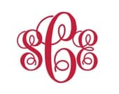 BOGO Script Monogram Vinyl Decal - 1 Color - Choose from 14 colors in various sizes and fonts