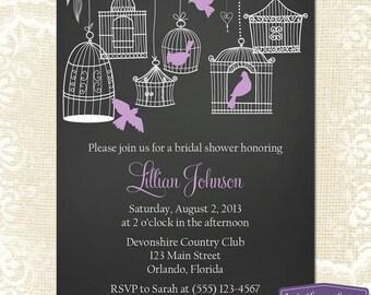 Purple Bridal Shower Invitation - Hanging Bird Cage Bridal Shower Invite - Birds Chalkboard Wedding Shower Invitation - 1149 PRINTABLE