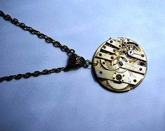 Steampunk BDSM jewelry burning man costumes gold necklace vintage watch pendant wedding birthday anniversary gift submissive dominant fetish