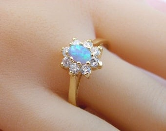 Opal ring Gold Ring, 14K Gold Filled Ring, Affordable Engagement Ring, Gift for Her, swarovski crystal ring, blue opal multsistone ring