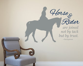 Horse vinyl wall decal • English/Hunter Horse and Rider equestrian decor horse wall quote decal horse sticker • 23 inches wide x 15 high