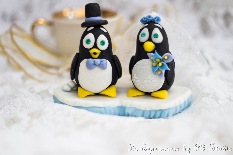 wedding Cake Topper Penguin Custom Penguin Beach by