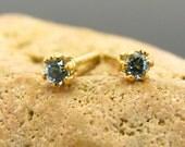 Small swiss blue topaz earring, blue topaz studs, swiss blue topaz earings 2 mm
