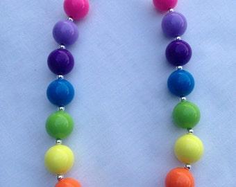 Girls Chunky Necklace, Girls Bubblegum Chunky Necklace, Rainbow Bright Chunky Necklace
