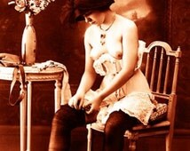 """Vintage Risque Nude Exotic - Erotic Corsets #006 Canvas Art Poster 16"""" x 24"""""""