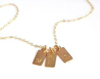 Gold Tag Necklace, Gold Initial Bar Tag Necklace, Personalized Tag Necklace, 14k Gold Necklace