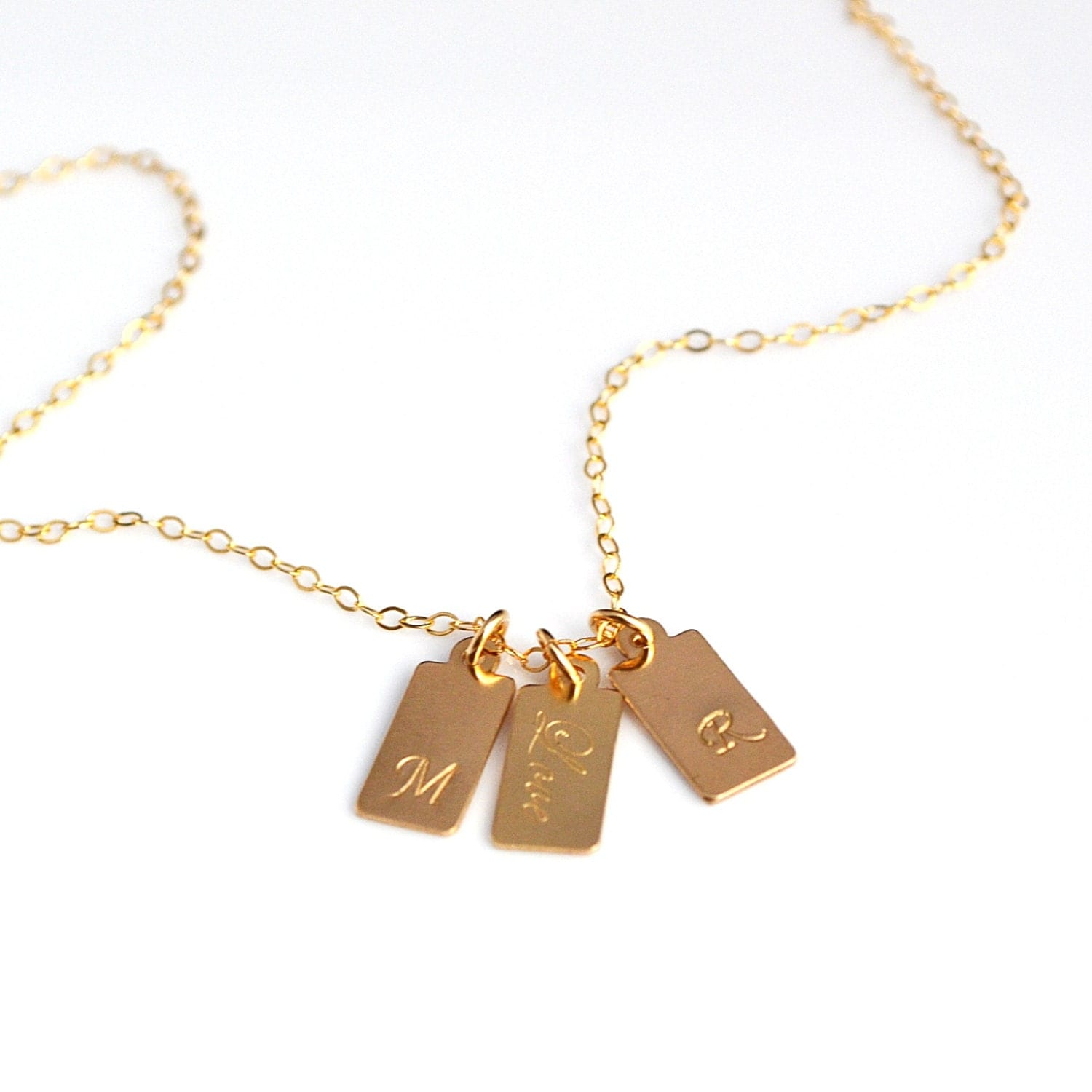 gold tag necklace gold initial bar tag necklace personalized
