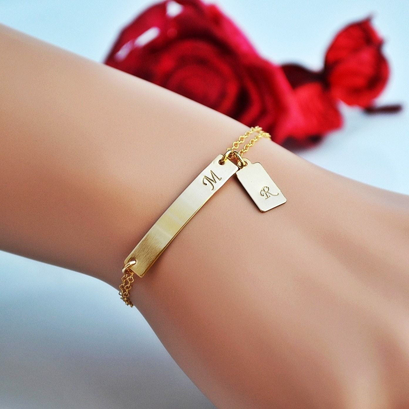 Personalized Bracelet Charms: Two Initial Bracelet Gold Bar Bracelet Personalized