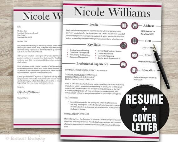 Modern Teacher Resume Template Resume Cover Letter Template
