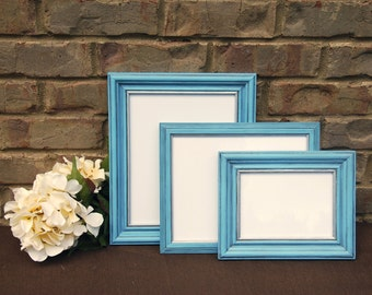 french country picture frames set of 3 vintage antique light blue silver hand painted decorative wooden wall collage gallery photo frames