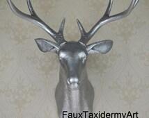 Silver Faux Deer Head Resin Deer Head Wall Decor Wall