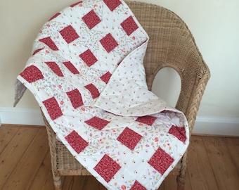 Handmade patchwork cot quilt, baby quilt, lap quilt
