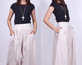 Sun Rises - Off White - Linen Skirt Pant - idea2love