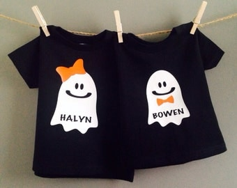 Kids Halloween Shirt or Onesie, First Halloween Outfit, Ghost Shirt, Baby or Toddler Halloween Shirts or Onesies