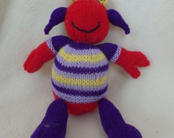 PRICE REDUCED      Handmade Knitted Alien Toy for Babies and Children