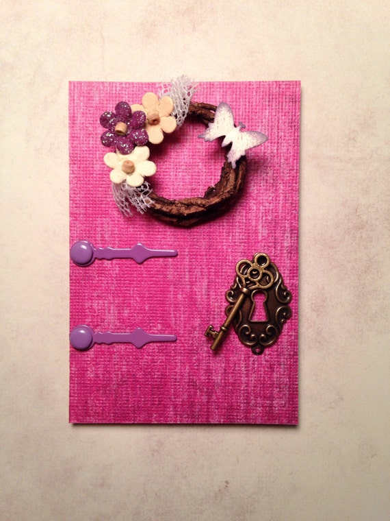 Purple fairy door with wreath for Fairy door purple