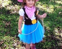 Sheriff Callie Inspired tutu dress costume, complete with pink cowgirl hat, badge, bandanna, belt and lasso