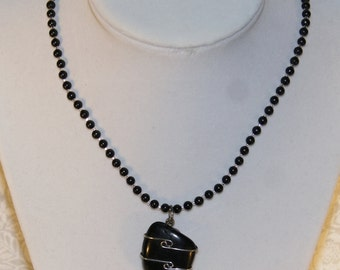 Genuine Black Jet Necklace | .925 Sterling Silver |  H.S.P. Protection | Gothic | Free Shipping & Gift Box/Bag