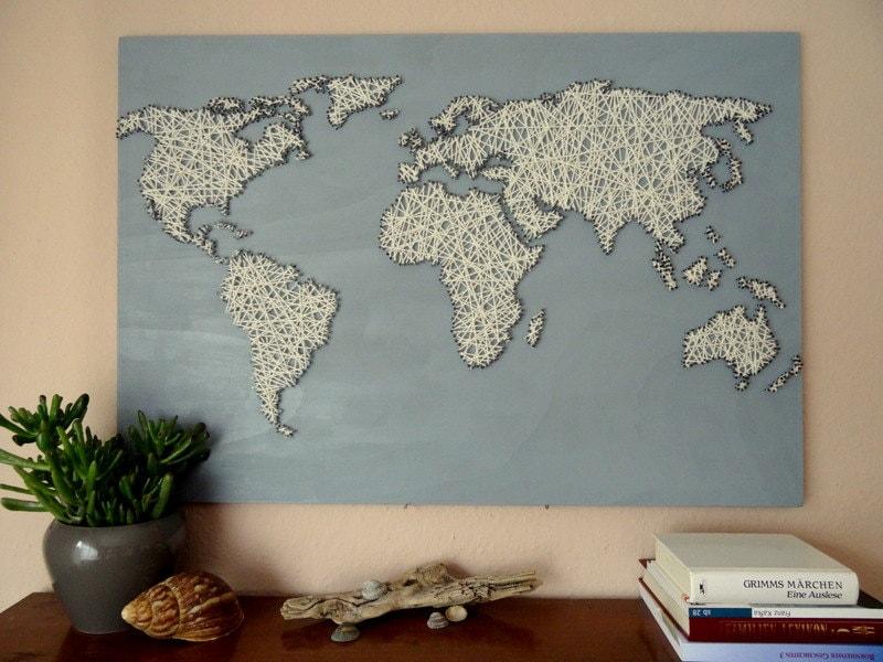 World Map String Art Office Decor Travel Gift World