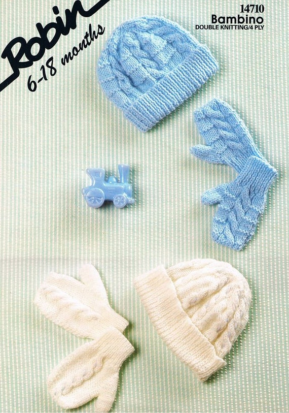 Knitting Pattern For Baby Hat And Mittens : Knitted Baby Hat and Mittens. Mitten and Hat Pattern. Suitable