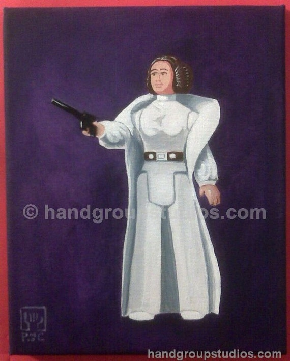 "Star Wars Princess Leia Toy Figure Painting Original Artwork ""Diplomatic Mission to Cinnabon"" by Pete Coe"