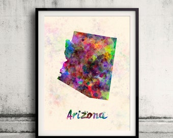 Arizona state map in watercolor on warm background - SKU 0835