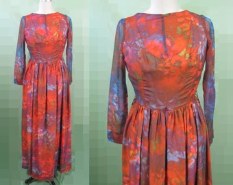 California Calliope chiffon red, purple, blue long length boho hippie Maxie dress. Floral and leaves print. bust 32 inches waist 25 inches