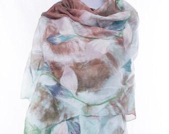 nuno felted silk scarf, handmade silk wool nunofelted scarf, felted shawl, felted eco wool scarf, gift idea, ladies scarf