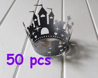 Stencil black castle Cupcake Wrappers princess castle laser cut wrapper fairytale  wraps collars black lace wrapper halloween cake wrapper