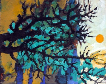 Oil on Canvas Original Signed Painting by Jacob Wexler Abstract Dark Trees Unique Art