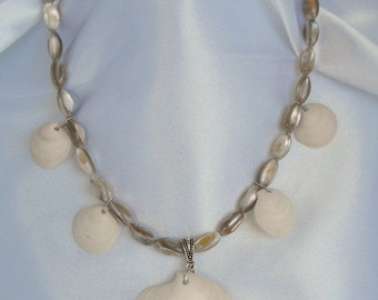 Shell Beads with Natural Sea Shells Necklace - Beach Jewelry     (BD-573)