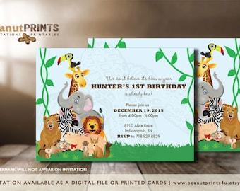 Safari Birthday Party Invitation - Printed OR Digital File - by peanutPRINTS