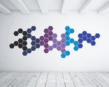 Pattern Decal Shapes Wall Decal Geometric Design Hexagon Mosaic Color Blue Black Purple Light Blue Custom Create Your Own Pattern!