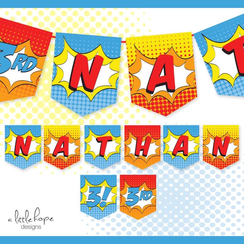 Superhero Birthday Banner Custom Name / Printable / Party