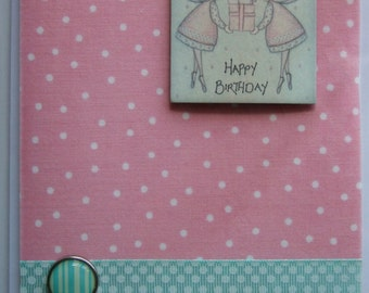 Happy Birthday Fairies Pink fabric Card