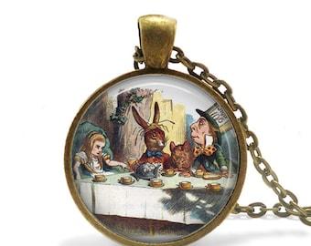 Alice In Wonderland Necklace Mad Hatter Tea Party Necklace Tea In Wonderland Necklace Wonderland Tea Party Madhatter necklace Tea Party Gift