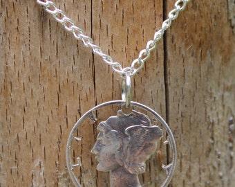 Mercury Dime Liberty Cut Coin, Necklace, Pendant, Liberty, Silver Coin