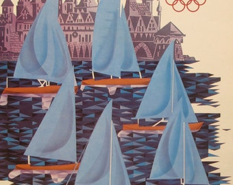 1980s Original Vintage Russian Poster of the Moscow XXII Summer Olympics, Sailing, Tallin