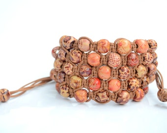 5 Row Light Brown Wood Bead Shamballa Bracelet, Brown wood Shamballa Bracelet, Wood Shamballa Bracelet, Wood beads