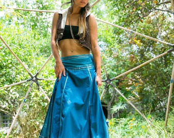 Gypsy Skirt, Tribal Skirt, Wrap Long Skirt, Summer Spring Funky Clothing, Hippie, Fairy, Dance Skirt, One Size, Cotton Skirt, Turquoise