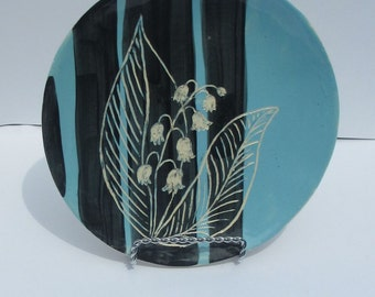 Ceramic carved lily-of-the-valley flower plate blue hand made